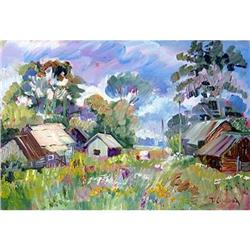 """""""Summer in village"""" oil in impressionism style #2394447"""