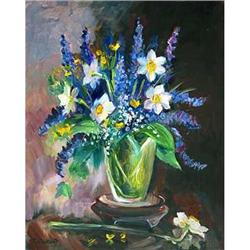 """Impressionism oil """"Narcissuses"""" by Sorokina T. #2394451"""