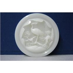 Well  Carved  White  Jade  Disc  With  A  Crane#2394481