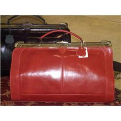 Red leather purse hand bag vintage doctor tote #2394756