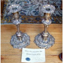 Pair of antique Old Sheffield  candlesticks  #2395017