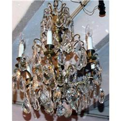 French 6 lights crystal  bronze chandelier  #2395028