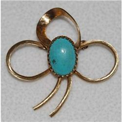 Vintage 12kg bow turquois brooch #2375534