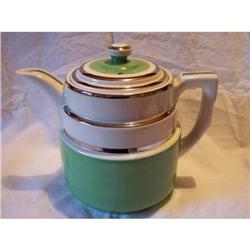 Hall Coffee Pot Green with Silver Trim #2375545
