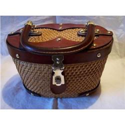 Straw Purse with Leather Trim #2375546
