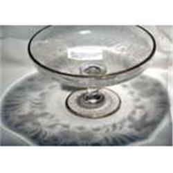 Glass Floral Engraved Compote Set #2375550