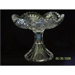 ABP Cut Glass Footed Compote, Hobstar & Fan #2375644