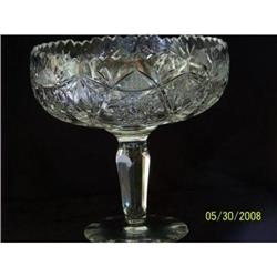 ABP Cut Glass Footed Compote, Hobstar & Flame #2375645