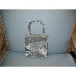 a silver mesh hand bag w floral embroidery #2375676