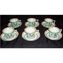 "6 Adams Calyx Ware ""The Piper"" HP Cups  Saucers#2375731"