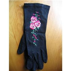 Vintage Women's Gloves Black, Embroidered #2375799
