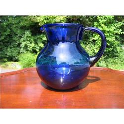 LARGE EARLY FREE BLOWN COBALT PITCHER  #2375945
