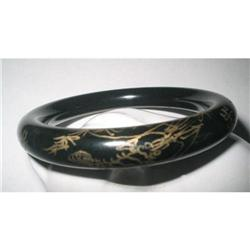 Black Glass Bangle Etched Asian/Oriental Design#2375980
