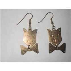 Art Deco Etched Brass Figural Cat Earrings #2376009