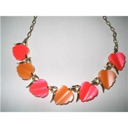 Thermoset Lucite Necklace Coral Pink Color  #2376022