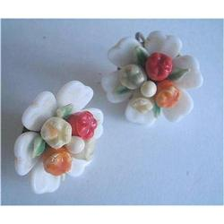 Art Deco Fruit Salad Milk Glass Earrings  #2376033