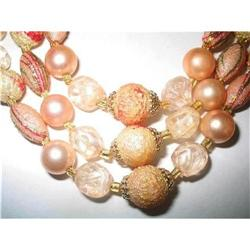 3 Strand Pink Stippled Necklace & Earrings #2376035