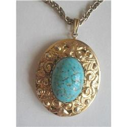 Photo Locket Turquoise Color Stone & Goldtone #2376036