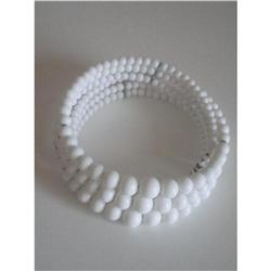 3 Strand Wire Wrap Milk Glass Choker Necklace #2376039