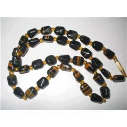 Black & Amber Color Art Glass Necklace  #2376042