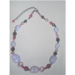 Art Glass Necklace Frosted & Opaque Beads, #2376043
