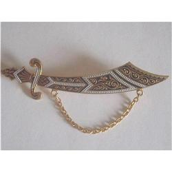Spanish Damascene Sabre Sword Brooch #2376049