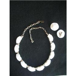 White Thermoset Lucite Necklace & Earrings #2376051