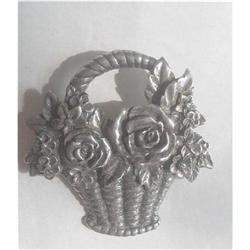 "Huge Pewter Brooch ""Basket of Flowers"" #2376054"