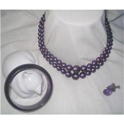 Necklace Set Purple Moonglow Lucite #2376055
