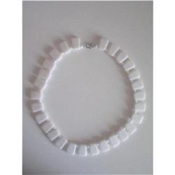 Art Deco White Milk Glass Bead Choker Necklace #2376056