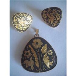 Spanish Damascene Toledoware Pendant & Earrings#2376057