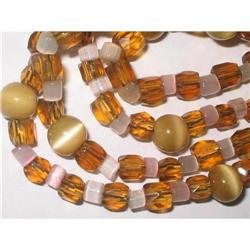 "Art Deco Necklace Glass & Lucite 30"" #2376062"