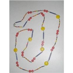 "Art Deco Glass Bead Flapper Necklace - 42"" #2376064"
