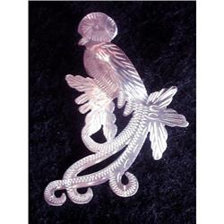 "Etched Silver Brooch ""Bird in Palm Tree"" #2376077"