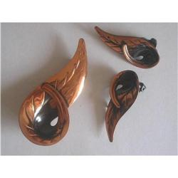 "Copper ""Leaf"" Brooch & Earrings Demi Parure #2376079"