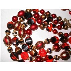 Double Strand Lucite Red, Gold & Black Necklace#2376090