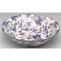 BLUE BLUSH PORCELAIN TRANSFERWARE FLORAL BOWL #2376667