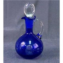 OVERLAY COBALT BLUE GLASS CRUET #2376669