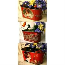 3 COCA-COLA SODA PLANTER TUBS TINS / GALVANIZED#2376684