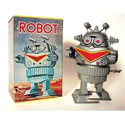 old Tin Lithograph Revolving Robot Toy  #2376844
