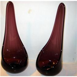 Old MULBERRY PURPLE Blown Glass candleholders #2376847