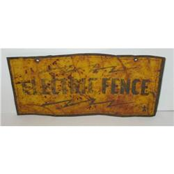 old vintage 1940s ELECTRIC FENCE SIGN rusted #2376858