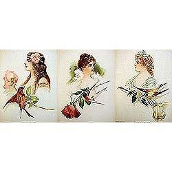 3 old vintage VICTORIAN LITHO prints * special #2376884