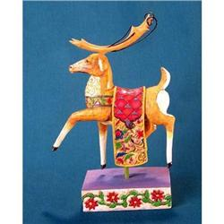 JIM SHORE REINDEER STATUE RED BLANKET * ENESCO #2377038