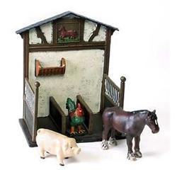 CAST IRON HORSE STALL W 3 PAINTED ANIMAL #2377161