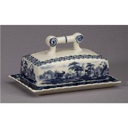 PORCELAIN BUTTER DISH /  TOILE TRANSFERWARE #2377179