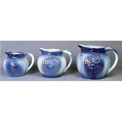 3 PORCELAIN WATER PITCHERS NEW / BLUE GOLD #2377187