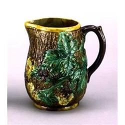 PORCELAIN BROWN LEAF FALL WATER DRINK PITCHER #2377191