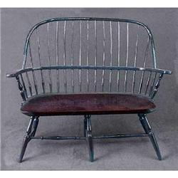 DOLL HOUSE BLUE HOOPBACK WOOD BENCH  / NEW #2377201