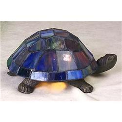LEADED GLASS TURTLE LAMP / BLUE #2377259